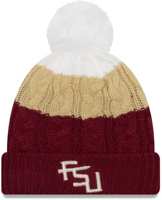 New Era Women's Garnet Florida State Seminoles Layered Up 2 Cuffed Knit Hat with Pom