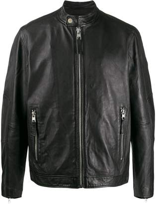 Calvin Klein Jeans band collar leather jacket