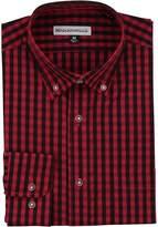 Benjamin & Walls Men's Long Sleeve Button Down Stretch Fit Casual Shirt (Black Plaid,)
