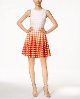 Calvin Klein Petite Dip-Dyed Grid-Print Fit & Flare Dress