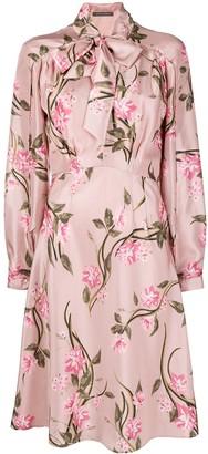 Alberta Ferretti Floral-Print Silk Dress