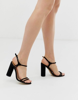 London Rebel strappy block heeled sandals