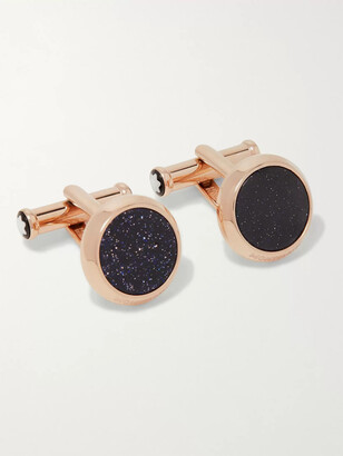 Montblanc Meisterstuck PVD-Coated Rose Gold-Tone and Blue Goldstone Cufflinks - Men - Rose gold