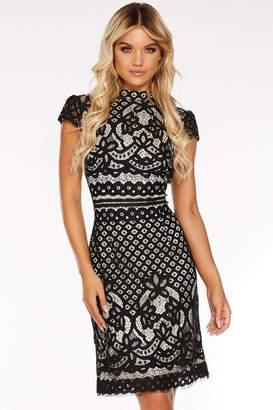 Quiz Black Lace High Neck Cap Sleeve Midi Dress