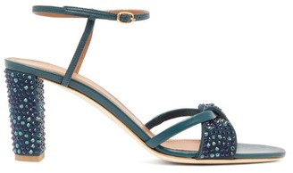 Malone Souliers Tara Crystal Embellished Leather Sandals - Womens - Dark Green