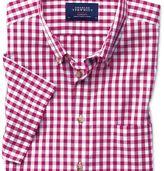 Charles Tyrwhitt Classic fit button-down non-iron poplin short sleeve raspberry gingham shirt