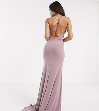 Club L London Petite Club L Petite cross back fishtail maxi dress