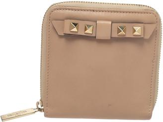 Valentino Beige Leather Rockstud Bow Zip Around Wallet