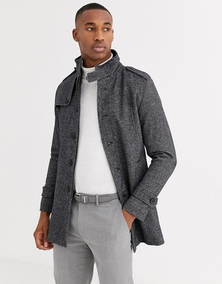 Selected wool coat with stand up collar in grey