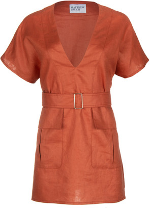 Matthew Bruch Cargo Linen Tunic Dress