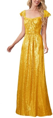 Stillluxury Sequins Bridesmaid Dress Cap Sleeve Square Neck Prom Evening Wedding Party Dresses Yellow Gold Size 24W