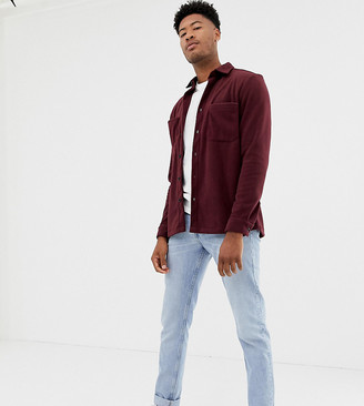ASOS DESIGN Tall fleece overshirt in burgundy