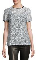 MICHAEL Michael Kors Short-Sleeve Lace T-Shirt, Black