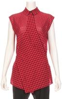 Alexander Wang Checkered Sleeveless Wrap Tie Blouse