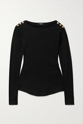 Balmain Button-embellished Cotton-jersey Top - Black