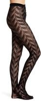 Natori Quilt Jacquard Pointelle Knit Wool Blend Tights