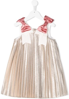 Hucklebones London Metallic-Sheen Pleated Dress