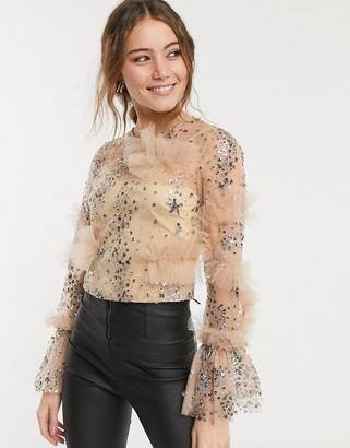 Forever U 3D long sleeve top in blush glitter spot