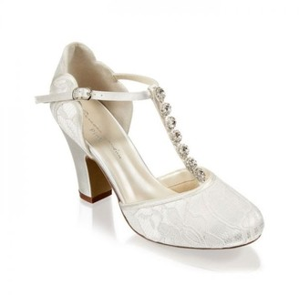 Paradox London Lace 'Adelia' Trim Detail High Heel Two Part Shoe