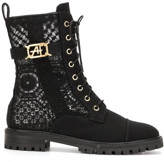 Alberta Ferretti Lace-Up Ankle Boots