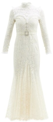 Alessandra Rich Crystal-embellished Cotton-blend Guipure-lace Gown - White
