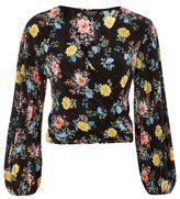 Topshop Floral plisse wrap top