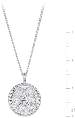 Evoke Rhodium Plated Sterling Silver Clear Swarovski Crystal Initial Disc Pendant on 18 inch Curb Chain