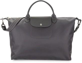 Longchamp Leather-Trim Double Top Handle Bag