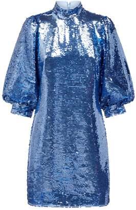 Ganni Sequin Balloon-Sleeve Dress