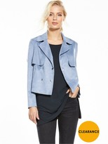Miss Selfridge Suedette Cropped Trench - Blue