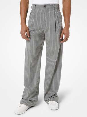 Michael Kors Pinstripe Stretch Wool Pleated Trousers
