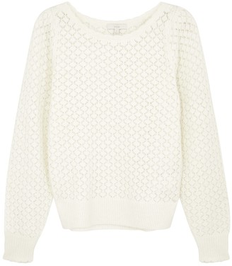Joie Moxya Cream Crochet-knit Jumper