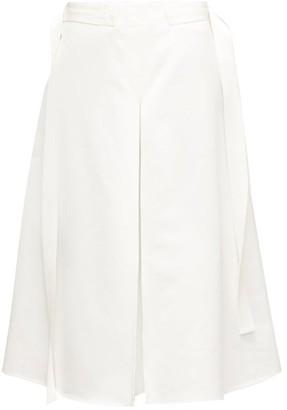 Marni Godet-pleat Cotton-sateen Midi Skirt - Womens - Cream