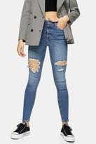 Topshop Mid Blue Thigh Rip Jamie Skinny Jeans
