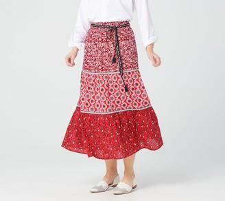 Susan Graver Petite Printed Cotton Poplin Tiered Skirt