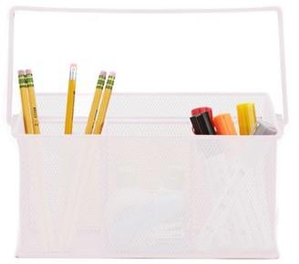 Mind Reader Metal Mesh Basket with Handle, Storage Basket Organizer, Utensil Holder, Forks, Spoons, Knives, Napkins, Perfect for Desk Supplies, Pencils, Pens, Staples, White