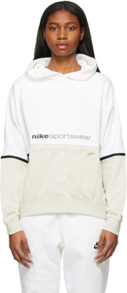 Nike White and Taupe NSW Archive Rmx Hoodie
