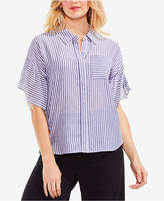 Vince Camuto Striped Flutter-Sleeve Top