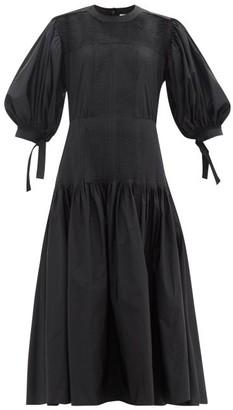 Jil Sander Pleated Taffeta Maxi Dress - Black