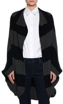 Piazza Sempione Heavy-Rib Striped Coat Sweater, Navy/Gray