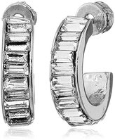 "Kenneth Cole New York Sparkled Baguette"" Crystal Baguette Stone Hoop Earrings"