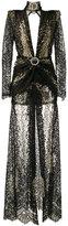 Alessandra Rich - long-sleeve lace gown - women - Silk/Polyamide/Spandex/Elastane/Metallic Fibre - 42