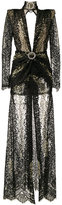 Alessandra Rich - long-sleeve lace gown - women - Viscose/Metallic Fibre/Polyamide/Spandex/Elastane - 42