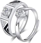 Infinite U 925 Sterling Wide Band Cubic Zirconia Men's Adjustable Promise Ring Size 9