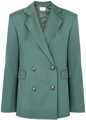 LOULOU STUDIO Tatakoto dark green double-breasted wool blazer