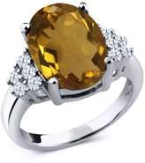 Gem Stone King 5.40 Ct Oval Whiskey Quartz White Topaz 14K White Gold Ring