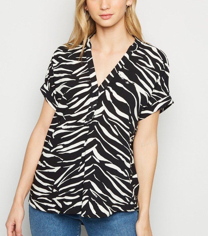 Thumbnail for your product : New Look Zebra Print Short Sleeve Shirt