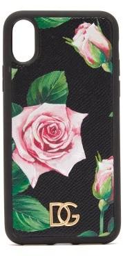 Dolce & Gabbana Rose-print Leather Iphone X & Xs Case - Black Multi