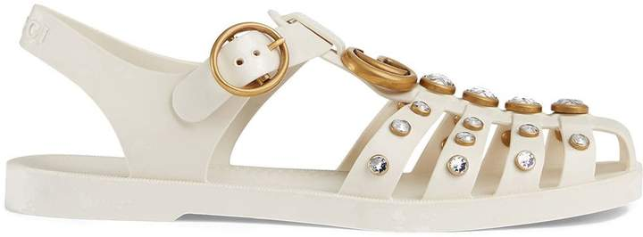Gucci Rubber sandal with crystals