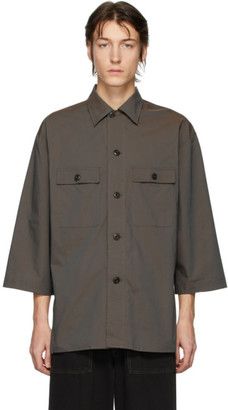 Lemaire Brown Three-Quarter Sleeve Tropical Shirt